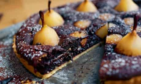 Chocolate brownie and pear tart