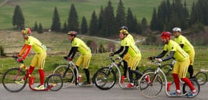 No risk of saddle sores - a group of kick bikers train in the Sumava mountains in south-west Czech Republic. An international team of six riders from the Czech Republic, Finland and the Netherlands is set to mark the 100th edition of the Tour de France by covering the entire distance on kick bikes.
