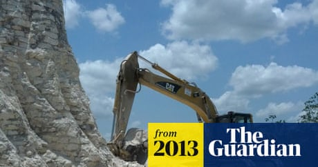 Mayan pyramid bulldozed by road construction firm