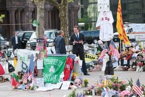 David Cameron accompanies Massachusetts Governor Deval Patrick to the Boston Marathon Bombing Memorial.