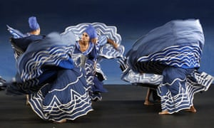Members of the Cuban National Folkloric Ballet perform onstage during the dress rehearsal of 'Okun', in Madrid, Spain. The show will be staged at the Fernando Fernan Gomez Theater in Madrid from 15 to 19 May.