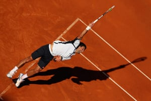Novak Djokovic of Serbia serves against Spain's Albert Montanes in their second round match during day three of the Internazionali BNL d'Italia 2013 in Rome, Italy. Photograph: Clive Brunskill/Getty Images