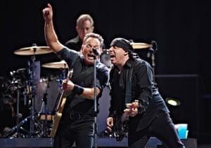 U.S. artists Bruce Springsteen and Steven Van Zandt perform with the E-Street Band in a concert at Parken Stadium in Copenhagen, Denmark.