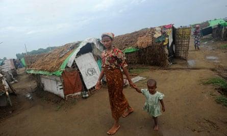 A Rohingya woman and child