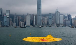 Dutch conceptual artist Florentijn Hofman's 'Rubber Duck' floats, deflated in Victoria Harbour, Hong Kong, this morning. It is not immediately known why the duck, scheduled to float outside Ocean Terminal inTsim Sha Tsui until 9 June deflated.