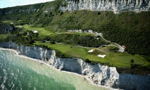 An aerial view of the course ahead of the Volvo World Match Play Championship at Thracian Cliffs Golf & Beach Resort in Kavarna, Bulgaria. There could be a few lost balls?