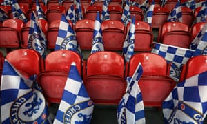 Chelsea flags on the seats inside the Amsterdam Arena ahead of the UEFA Europa League final tonight.
