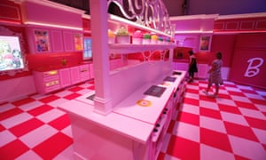The kitchen inside a life-size 'Barbie Dreamhouse' in Berlin. The life-sized house, covering about 1,400 square metres offers visitors to try on Barbie's clothes in her walk-in closet, tour her living room and her kitchen.