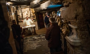 Priest Josep Maria Bullich attends a mass at the Cave of Saint Ignatius of Loyola in Manresa, Spain. Saint Ignatius of Loyola, stayed in a cave outside the town for 10 months in 1522.