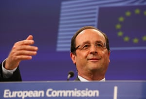 French President Francois Hollande speaks during a joint press conference with EU Commission President Jose Manuel Barroso (not pictured), ahead of an international conference for the development of Mali, at EU headquarters in Brussels, Belgium, 15 May 2013.