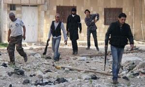 Free Syrian Army fighters in the al-Ziyabiya area in Damascus
