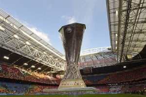 Benfica v Chelsea: The Europa League trophy is displayed in