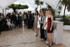 Cannes photocalls: Katie Chang, Taissa Farmiga and Israel Broussard, director Sofia Coppola, C