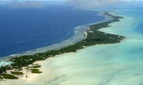 The Tarawa atoll in the Pacific island nation of Kiribati