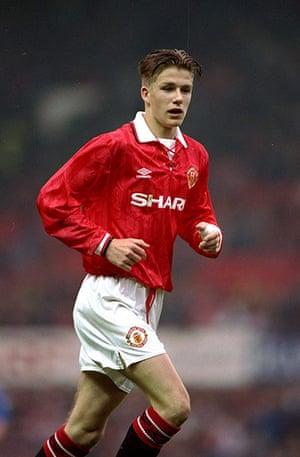 Beckham hair: David Beckham with a sort of centre parting