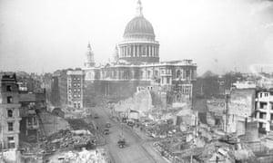 St. Pauls after air raid in 1942