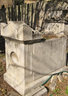 Francis Horner's damaged tomb in the Protestant cemetery in Livorno