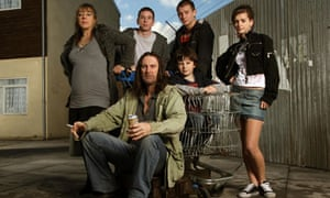 Shameless: the Gallagher family, with patriarch Frank seated centre.