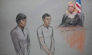 Dias Kadyrbayev, left, and Azamat Tazhayakov are pictured in a courtroom sketch, appearing in front of magistrate judge Marianne Bowler at the federal courthouse in Boston.