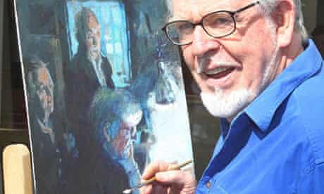 Rolf Harris at an exhibition of his art