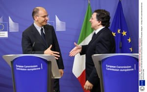 Enrico Letta and Jose Manuel Barroso hold a press conference in Brussels, Belgium.