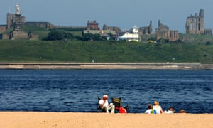 The South Shields coast, with the ruins of Tynemouth Priory seen in the background