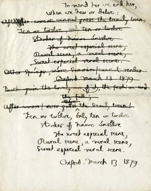 Manuscript of Binsey Poplars by Gerard Manley Hopkins