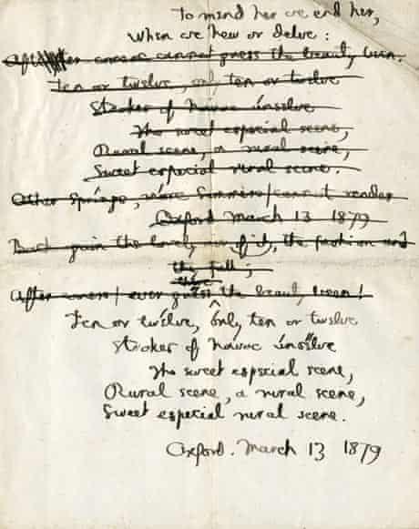 Manuscript of Binsey Poplars by Gerard Manley Hopkins