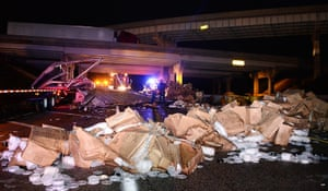 Tornado in USA: A destroyed truck which was blown off the 40 freeway