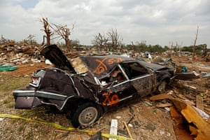 Tornado in USA: A smashed car sits in a field in Granbury, Texas