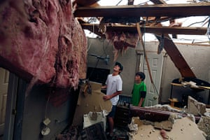 Tornado in USA: Two brothers survey their damaged home in Granbury, Texas