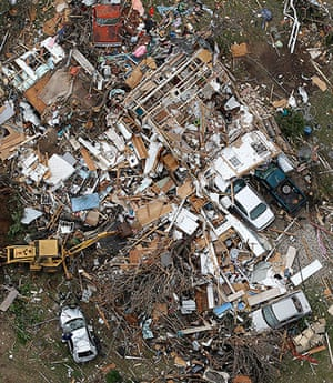 Tornado in USA: An aerial view of the damage caused by the tornadoes in Cleburne, Texas