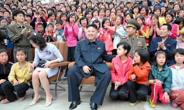 North Korean leader Kim Jong-un and his wife Ri Sol-ju sit have clearly stirred the emotions of the crowd during a visit to the Pyongyang Myohyangsan Children's Camp in North Phyongan.