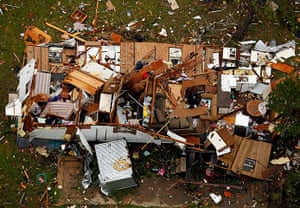 Tornado in USA: Home with extensive damage caused by the tornado in Granbury, Texas