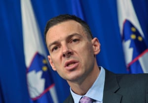 Slovenia's Finance Mnister Uros Cufer speaks during a news conference in Ljubljana May 9, 2013.