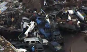 This photo provided by KFOR-TV shows a  car pile-up outside Moore, Oklahoma.