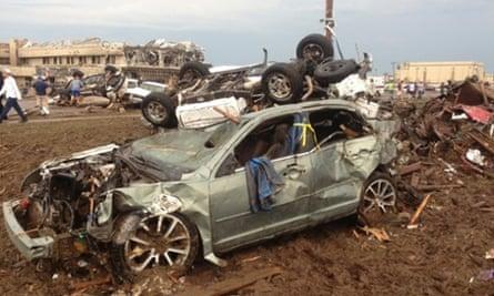 The aftermath of a huge tornado near Oklahoma City, Oklahoma.