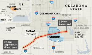 Path of the tornado through Moore, Oklahoma