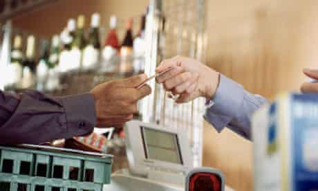 Buying groceries by credit card