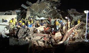 Rescue workers continue the search for survivors at the Plaza Tower Elementary School.