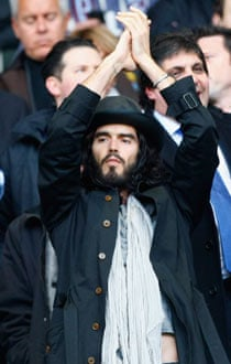 Russell Brand cheering on West Ham United at the Boleyn Ground.