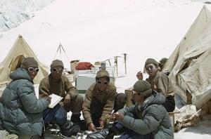 everest: Everest sherpas at Camp IV eating and resting