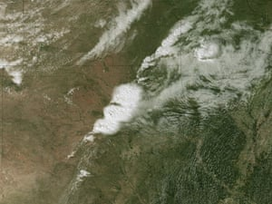 This image from the National Oceanic and Atmospheric Administration satellite shows the storms developing directly over central Oklahoma. One minute later an incredibly destructive tornado touched down in Moore, Oklahoma.
