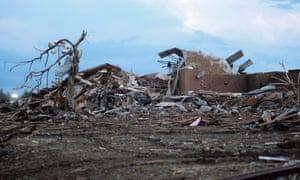Piles of debris lie around the northeast corner of Plaza Towers Elementary school.