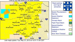 Texas and Oklahoma counties in yellow are under a tornado watch until 7pm. Graphic by the national weather service.
