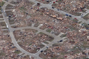 An aerial view shows an entire neighborhood destroyed by Monday's tornado.