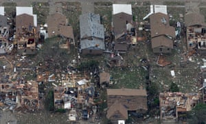 Another aerial view of damaged homes.