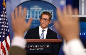 White House press secretary Jay Carney is questioned by the press during the daily briefing at the White House in Washington. Carney announced that Homeland Security Secretary Janet Napolitano will travel to Oklahoma on Wednesday to inspect damage from the deadly tornado. Photograph: Jason Reed/Reuters