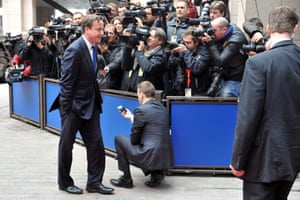 British Prime Minister David Cameron arrives for the European Council meeting at the EU headquarters in Brussels on May 22, 2013.