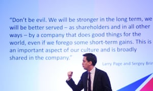 Labour leader Ed Miliband speaks to an audience of internet experts at Google's 'Big Tent' event in Hertfordshire where he talked about Google's tax policy in the UK.